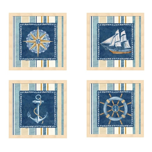 Shop Cynthia Coulter \'Nautical Stripe\' Framed Art (Pack of 4) - On ...