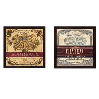 Tre Sorelle Studios 'Grand Vin Wine Label' Framed Art (Set of 2)