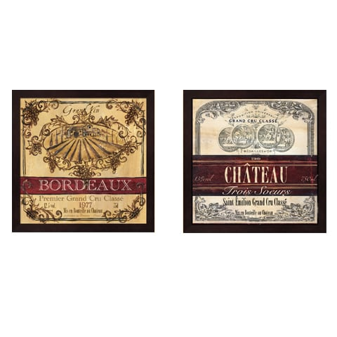 Shop Tre Sorelle Studios 'Grand Vin Wine Label' Framed Art (Set of Bath Tre Sorelle Home Designs Html on