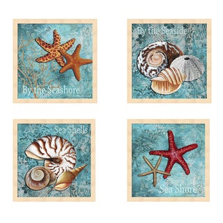 Megan Duncanson 'By the Sea' Multicolored Wood Framed Art (Set of 4)