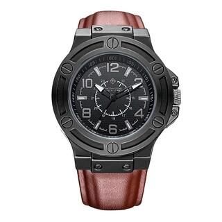 Timothy Stone Men's Quartz MANIS Polshed Black / Brown Genuine Calf Leather Watch