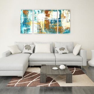 Jasmine Mills 'Glacial Reflection' 30 x 60 Triptych Canvas Wall Art