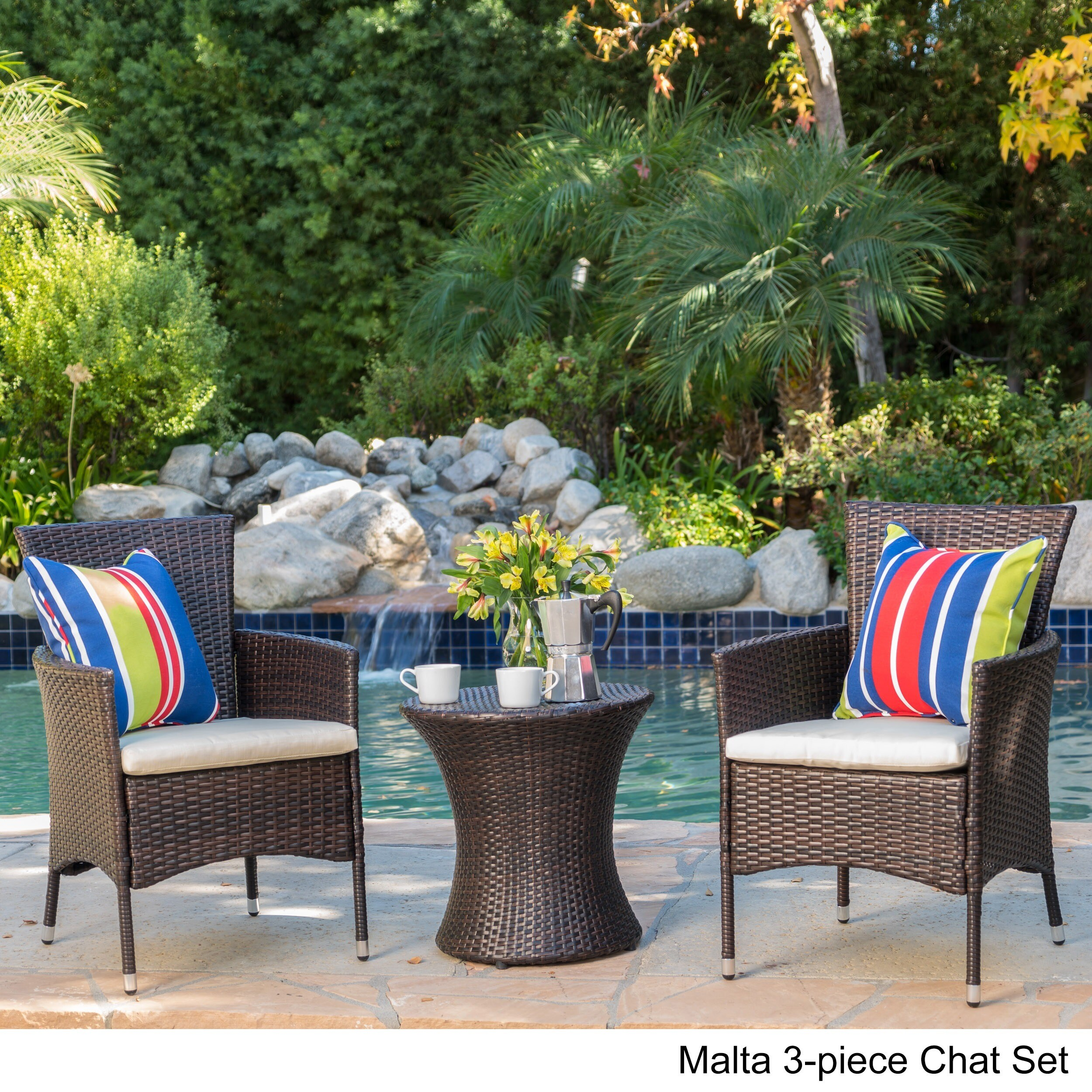 3 Piece Outdoor Wicker Chat Set With Cushions By Christopher Knight Home (3  Options Design Ideas
