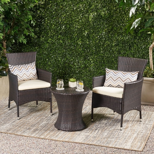 3-piece Outdoor Wicker Chat Set with Cushions by Christopher Knight Home. Opens flyout.