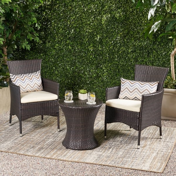 Incredible Shop 3 Piece Outdoor Wicker Chat Set With Cushions By Andrewgaddart Wooden Chair Designs For Living Room Andrewgaddartcom