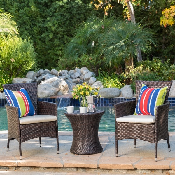 3 Piece Outdoor Wicker Chat Set With Cushions By Christopher Knight Home