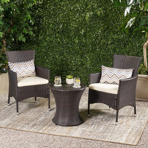 3-piece Outdoor Wicker Chat Set with Cushions by Christopher Knight Home