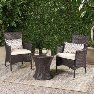 Christopher Knight Home Malta Outdoor 3-piece Wicker Chat Set with Cushions