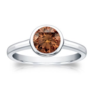 Auriya 14k Gold 3/4ct TDW Bezel Round Cut Brown Diamond Solitaire Engagement Ring (Brown)