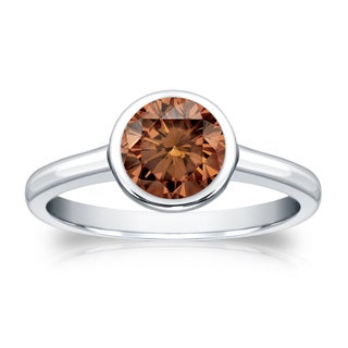Auriya 14k Gold 1ct TDW Bezel Round Cut Brown Diamond Solitaire Engagement Ring (Brown, SI1-SI2)