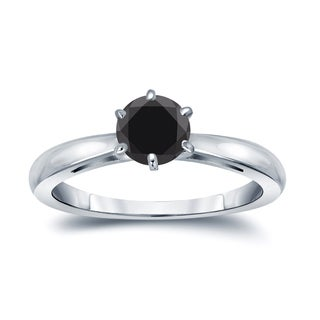 Auriya 14k Gold 1/2ct 6-Prong Round Cut Black Diamond Solitaire Engagement Ring