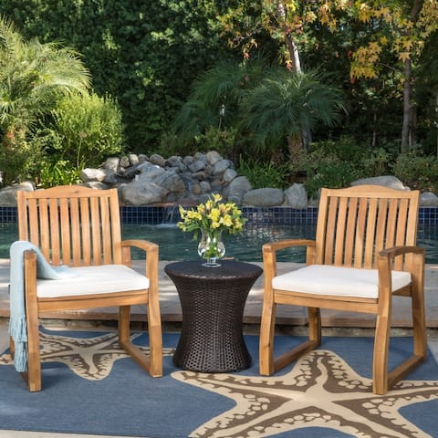 Avalon Outdoor 3-piece Acacia Wood Chat Set with Hourglass Wicker Table by Christopher Knight Home