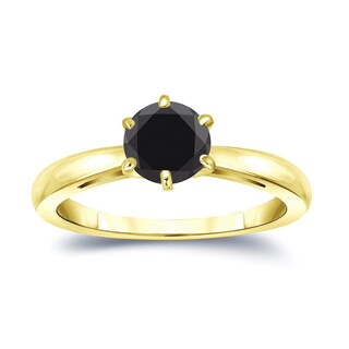 14k Gold 1cttw 6 Prong Round Solitaire Black Diamond Ring by Auriya