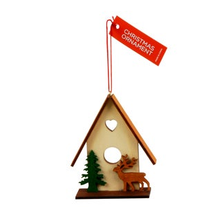 Multicolored Wooden Hanging Christmas Tree House Ornament