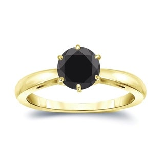 Auriya 14k Gold 1 1/2ct TW Round 6-Prong Solitaire Black Diamond Engagement Ring