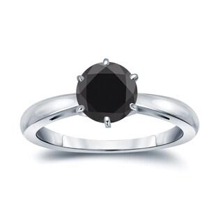 Auriya 14k Gold 2 Carat TW Round 6 Prong Solitaire Black Diamond Engagement Ring