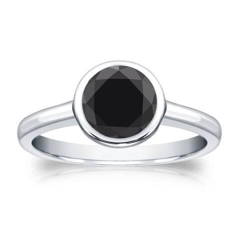 Auriya 14k Gold 1 1/4ctw Bezel-set Solitaire Black Diamond Engagement Ring