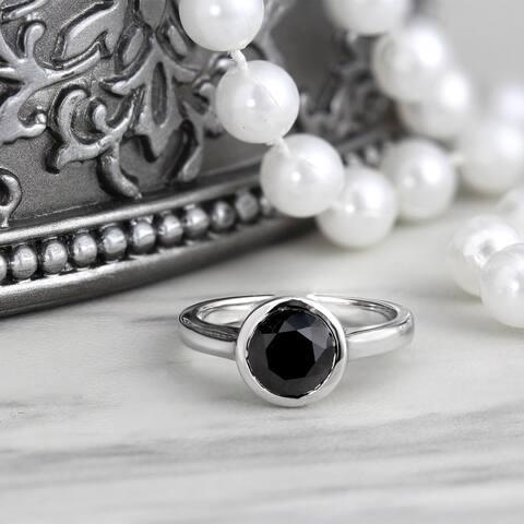 Auriya 14k Gold 1 1/2ctw Bezel-set Solitaire Black Diamond Engagement Ring