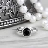 Auriya 14k Gold 1 1/2ct Round Black Diamond Bezel Solitaire Engagement Ring