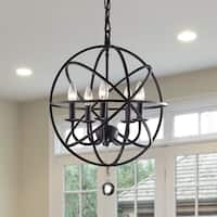 Notus Black-finish Metal and Crystal 5-light Foyer Pendant