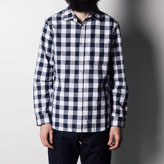 1791 Supply Co Men's Weekend Blue Cotton Check Spread Collared Shirt