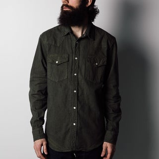 1791 Supply Co Men's Olive Washed Canvas Western Shirt