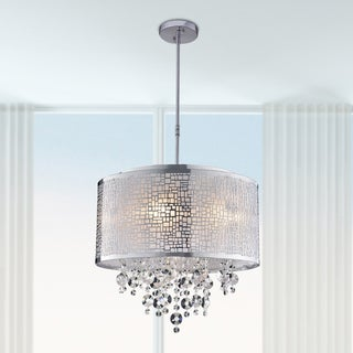 Iris 4-light Metal and Crystal Drum Chandelier
