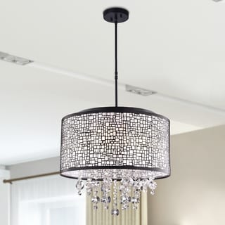 Iris Black-finish Metal and Crystal 4-light Drum Chandelier