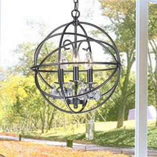 Phobos Bronze Metal/ Glass 3-light Globe Pendant Fixture