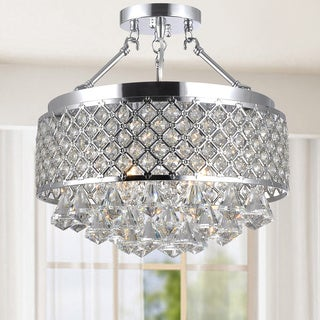 Caelus Chrome Metal and Crystal 4-light Semi Flush Mount Chandelier