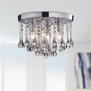 Scelene Chrome Iron and Crystals 4-light Flush Mount Light
