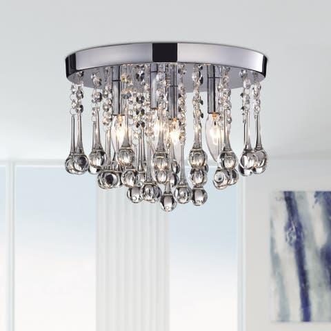 Scelene Chrome Iron and Crystals 4-light Flush Mount Light