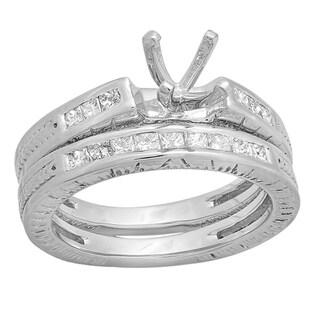 14k White Gold 5/8ct TDW Princess Cut Diamond Bridal Semi Mount Bridal Set (H-I, I1-I2)