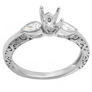 14k White Gold 1/3ct TDW Round and Pear Diamond Bridal Set (H-I, I1-I2)