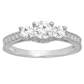 10k White Gold 1ct TDW Round Diamond 3-stone Bridal Engagement Ring (H-I, I1-I2)