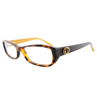 Gucci Havana Plastic Rectangle Eyeglasses