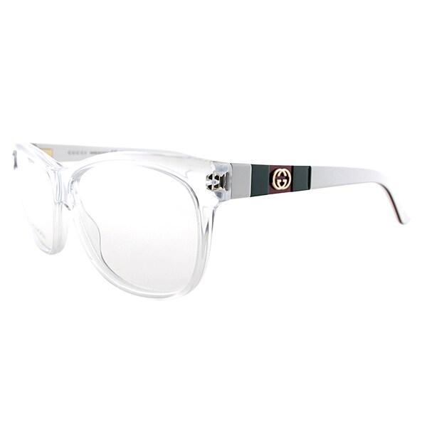 2dc2e6304fc Gucci Unisex GG 3543 5L0 Crystal Plastic 55-millimeter Rectangle Eyeglasses