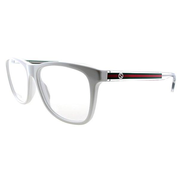0e3ff402d32 Gucci GG 3725 O0Y White Plastic 54-millimeter Rectangle Eyeglasses