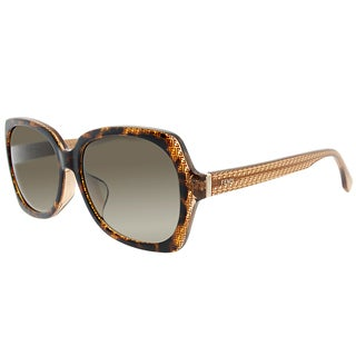 Fendi FF 0002/F 7PL/HA Asian Fit Havana Fendi Logo Plastic Square Brown Gradient Lens Sunglasses