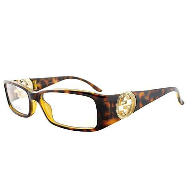 1301fd14373 Shop Gucci GG 3136 791 15 Havana Plastic 52mm Rectangular Eyeglasses ...