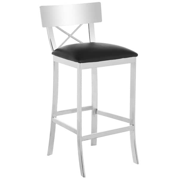 Brilliant Shop Safavieh 30 Inch Zoey Stainless Steel Cross Back Black Machost Co Dining Chair Design Ideas Machostcouk