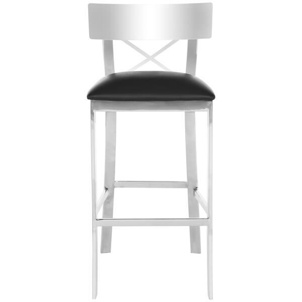 Enjoyable Shop Safavieh 30 Inch Zoey Stainless Steel Cross Back Black Machost Co Dining Chair Design Ideas Machostcouk