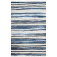 Safavieh Hand-Woven Rag Cotton Rug Ivory/ Blue Cotton Rug - 4' x 6'