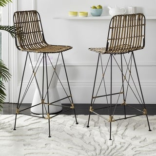 Safavieh 43.3-inch Minerva Wicker Natural Brown Wash Bar Stool