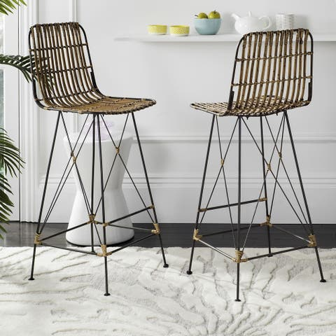 "Safavieh 43.3-inch Minerva Wicker Natural Brown Wash Bar Stool (Set of 2) - 18.1"" x 20.9"" x 43.3"""