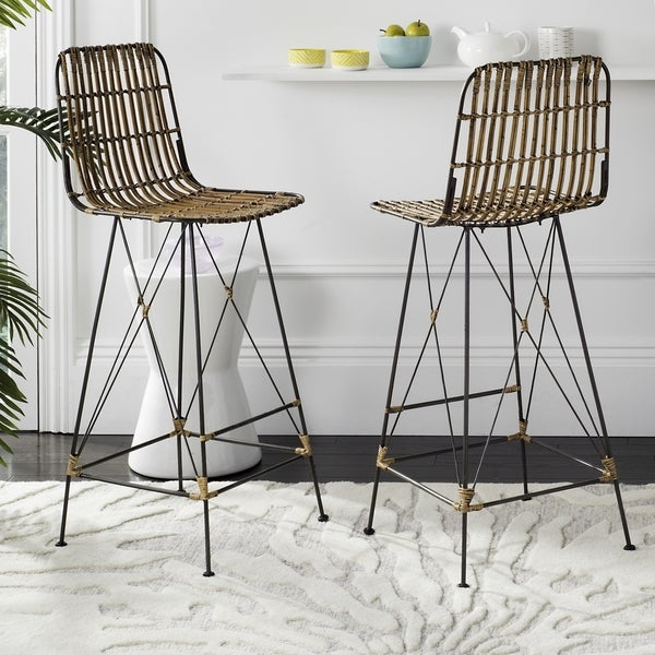 "Safavieh 43.3-inch Minerva Wicker Natural Brown Wash Bar Stool (Set of 2) - 18.1"" x 20.9"" x 43.3"". Opens flyout."