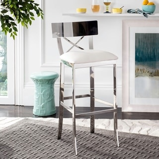 Safavieh 39-inch Zoey Stainless Steel Cross Back White Barstool