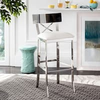 Safavieh 39-inch Zoey Stainless Steel Cross Back White Barstool