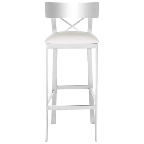 Swell Shop Safavieh 39 Inch Zoey Stainless Steel Cross Back White Machost Co Dining Chair Design Ideas Machostcouk