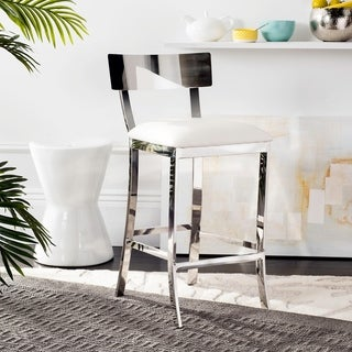 Safavieh 35-inch Abby Stainless Steel White Counter Stool